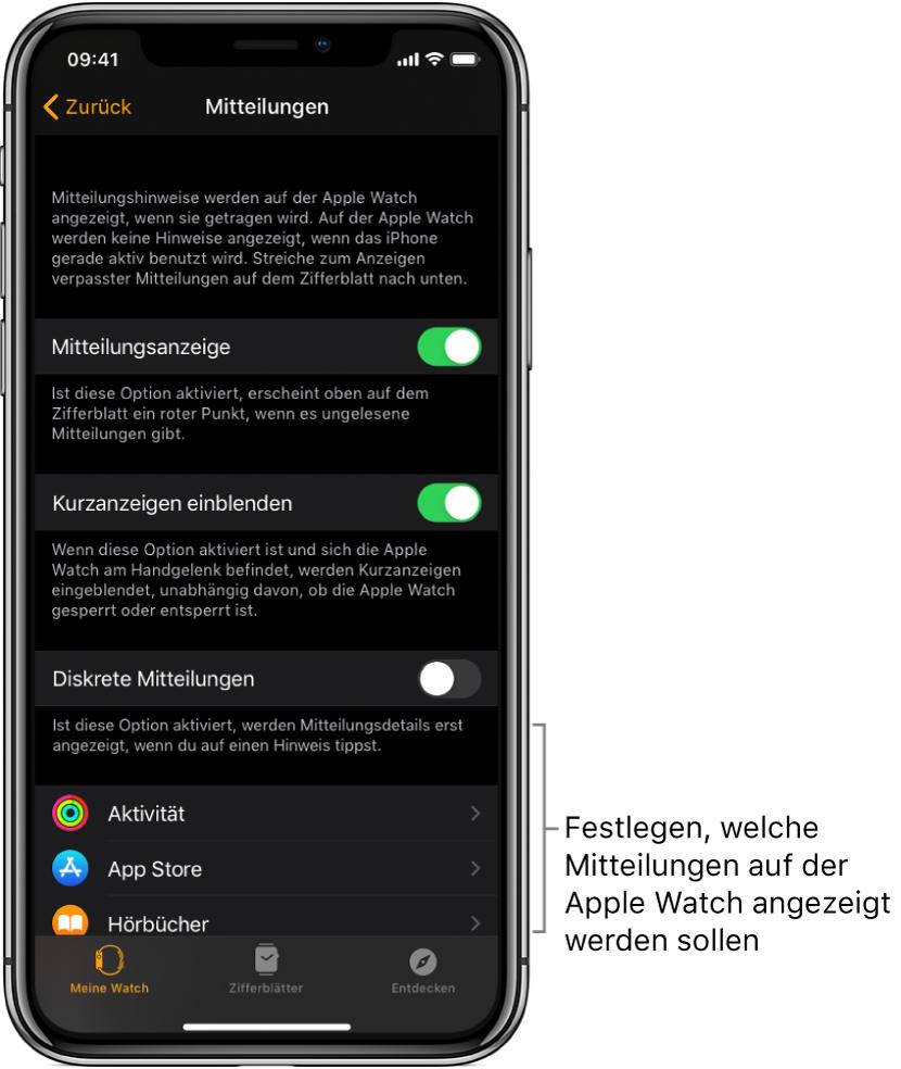 """Die Anzeige """"Mitteilungen"""" in der App """"AppleWatch"""" auf dem iPhone mit verschiedenen Quellen für Mitteilungen."""