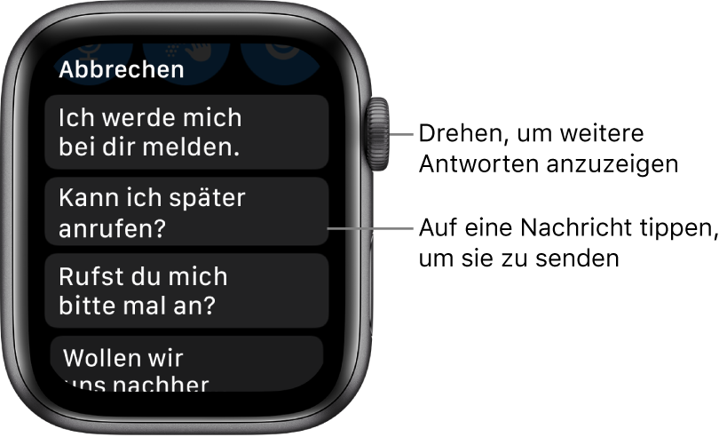 """App """"Nachrichten"""" mit der Taste """"Abbrechen"""" oben und drei vorgefertigten Antworten (""""Ich werde mich bei dir melden."""", """"Kann ich später anrufen?"""" und """"Rufst du mich bitte mal an?"""")."""