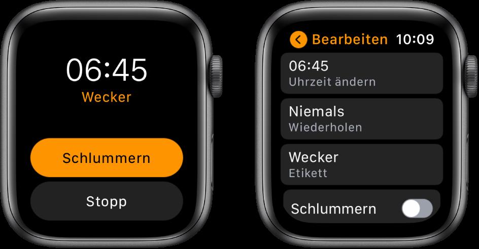 """Zwei Ansichten der AppleWatch: Eine Uhr zeigt ein Zifferblatt mit den Tasten """"Schlummern"""" und """"Stopp"""", die andere Einstellungen für """"Wecker bearbeiten"""" und darunter die Tasten """"Uhrzeit ändern"""", """"Wiederholen"""" und """"Wecker"""". Die Option """"Schlummern"""" befindet sich unten. Die Option """"Schlummern"""" ist deaktiviert."""