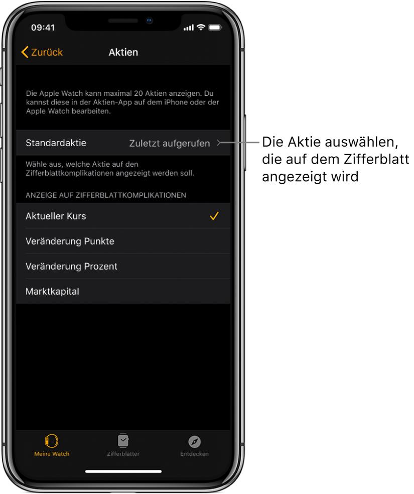 """Die Aktieneinstellungen in der App """"AppleWatch"""" auf dem iPhone zeigt die Option zum Auswählen deiner Standardaktie, standardmäßig auf """"Zuletzt aufgerufen"""" eingestellt."""