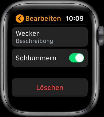 """Bildschirm """"Wecker bearbeiten"""" mit der Taste """"Löschen"""" unten."""