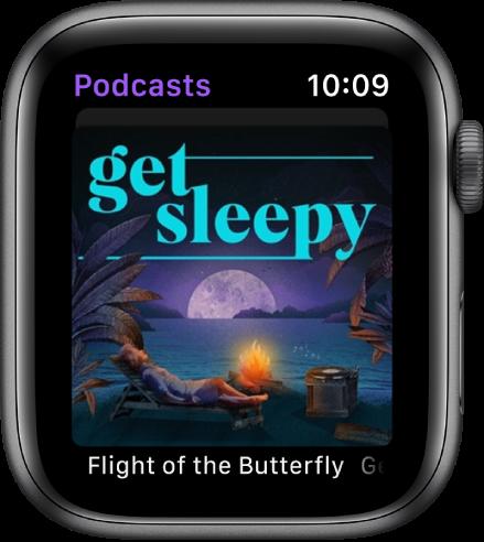 """Die App """"Podcasts"""" auf der Apple Watch zeigt das Coverbild eines Podcasts. Tippe auf das Coverbild, um die Folge wiederzugeben."""