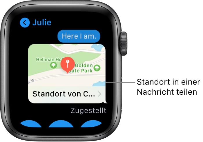 """App """"Nachrichten"""" mit einer Karte mit dem Standort des Senders."""