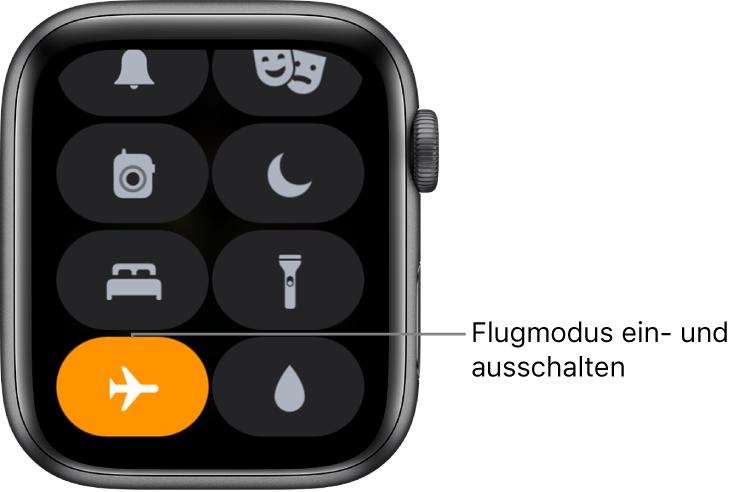 """Kontrollzentrum mit der Taste """"Flugmodus"""", die hervorgehoben ist, um zu zeigen, dass der Flugmodus aktiviert ist."""