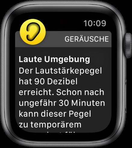 """Ein Hinweis der App """"Geräusche"""" auf einen Lautstärkepegel von 90Dezibel. Darunter wird eine Warnung angezeigt, die auf die Folgen hinweist, wenn du diesem Geräuschpegel über längere Zeit ausgesetzt bist."""