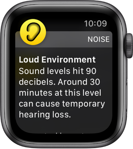 The Noise screen showing a decibel level of 100 dB. A warning that cautions against long-term exposure to sounds at this level appears below.