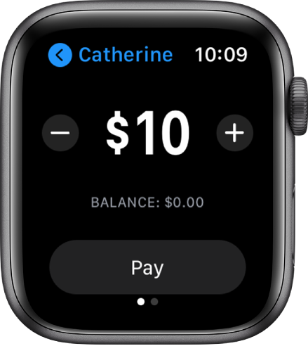A Messages screen showing an Apple Cash payment being prepared. A dollar amount is at the top with minus and plus buttons on either side. The current balance is below, and the Pay button is at the bottom.