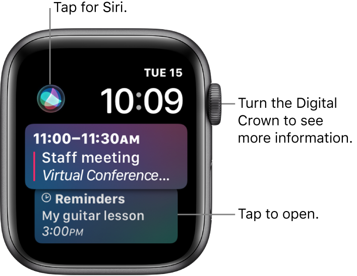 The Siri watch face showing a reminder and a calendar event. A Siri button is at the top-left of the screen. The date and time are at the top right.