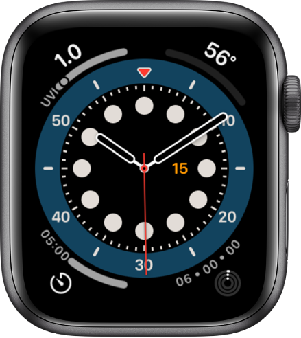 The Count Up watch face. It shows four complications: UV Index at the top left, Temperature at the top right, Timer at the bottom left, and Activity at the bottom right.