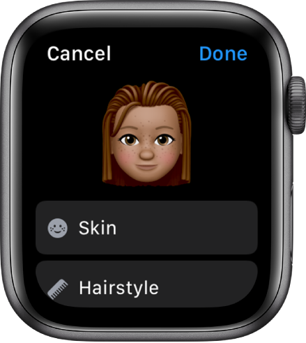 The Memoji app on Apple Watch showing a face near the top and Skin and Hairstyle options below.