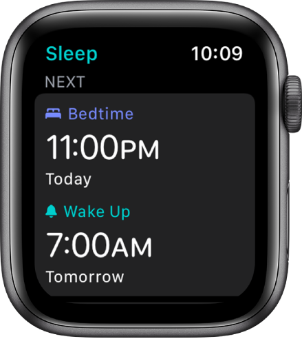 The Sleep screen showing the evening's sleep schedule. Bedtime, near the top, is set for 11:00 p.m. Below is a wake-up time of 7:00 a.m.