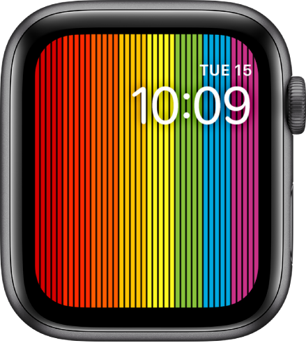 The Pride Digital watch face showing vertical rainbow stripes with the time at the top right.