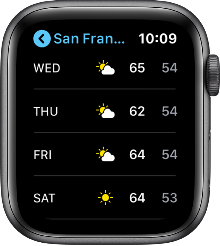 The Weather app showing the week's forecast.