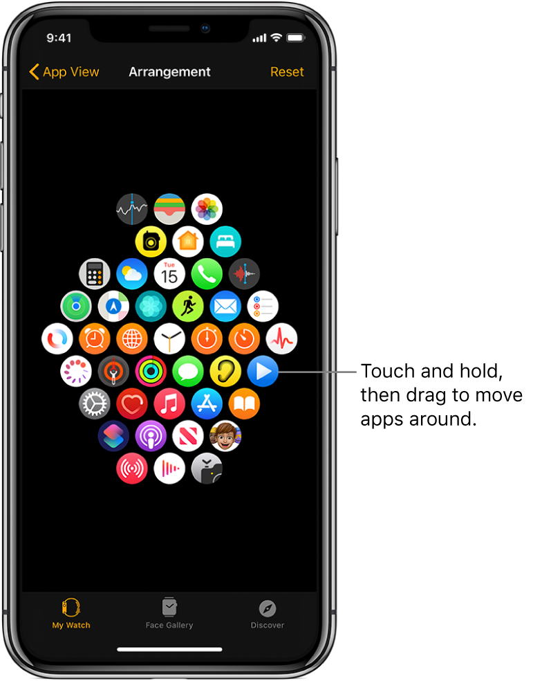 The Arrangement screen in the Apple Watch app showing a grid of icons.