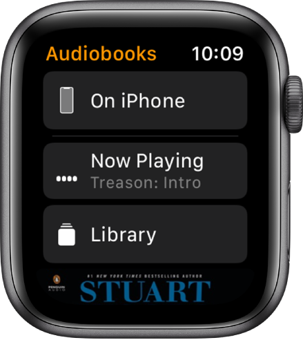 Apple Watch showing the Audiobooks screen with the On iPhone button at the top, the Now Playing and Library buttons below, and a portion of an audiobook's cover art at the bottom.