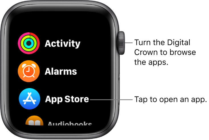 Home Screen in list view on Apple Watch, with apps in a list. Tap an app to open it. Scroll to see more apps.