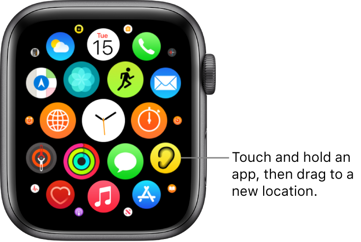 Apple Watch Home Screen in grid view.