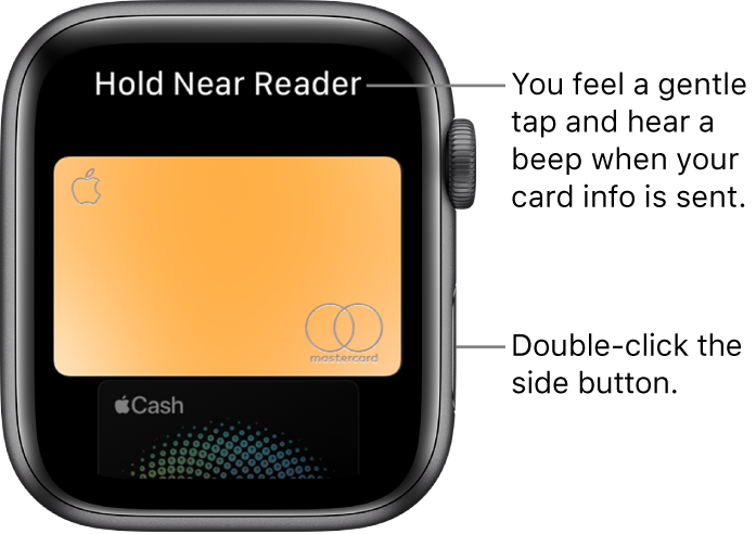 "Apple Pay screen with ""Hold Near Reader"" at the top; you feel a gentle tap and hear a beep when your card info is sent."