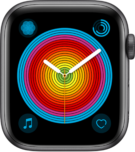 The Pride Analog watch face using the Circular style. There are four complications shown: Breathe at the top left, Activity at the top right, Music at the bottom left, and Heart Rate at the bottom right.
