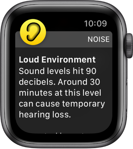 A Noise notification about a 90 decibel sound level. A warning about long-term exposure to this sound level appears below.