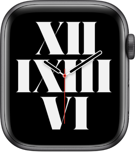 The Typograph watch face showing the time using Roman numerals.