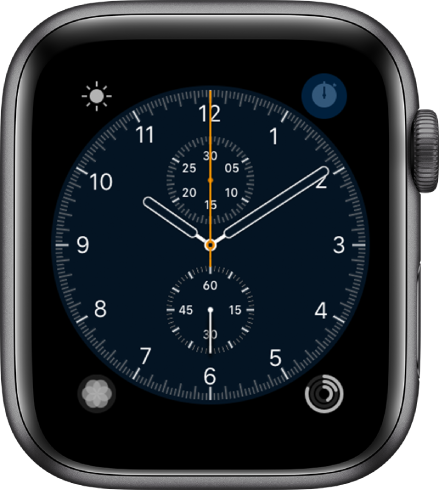 The Chronograph watch face, where you can adjust the face color and details of the dial. It shows four complications: Weather at the top left, Stopwatch at the top right, Breathe at the bottom left, and Activity at the bottom right.