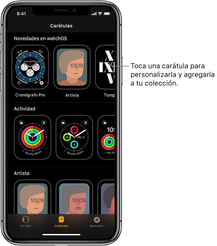 La app AppleWatch abierta mostrando la galería de carátulas. La fila superior muestra las carátulas nuevas, y las siguientes muestran carátulas agrupadas por tipo, por ejemplo, Actividad y Artista. Puedes desplazarte para ver más carátulas agrupadas por tipo.