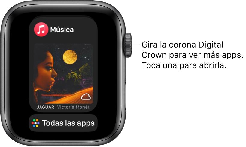 """El Dock mostrando la app Música con el botón """"Todas las apps"""" debajo. Gira la corona DigitalCrown para ver más apps. Toca una para abrirla."""