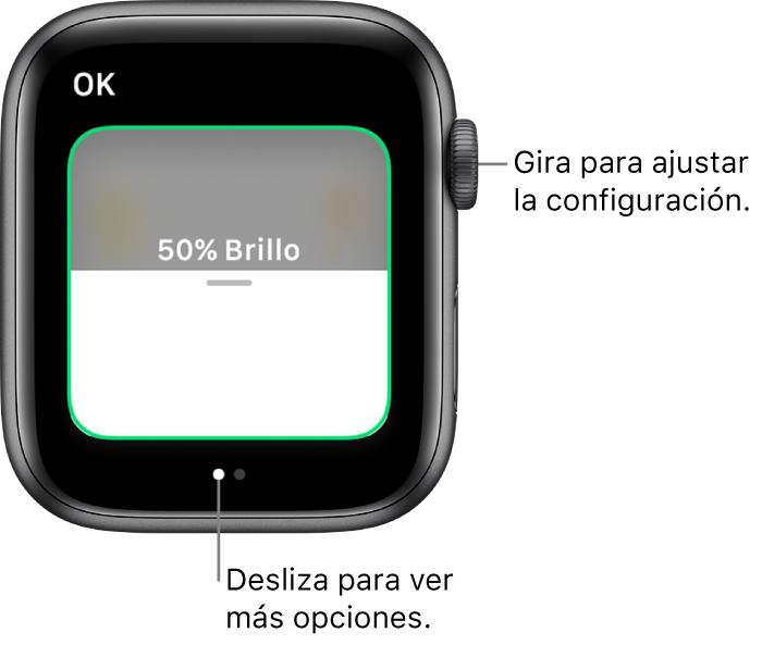 La app Casa mostrando la configuración de brillo para un foco.
