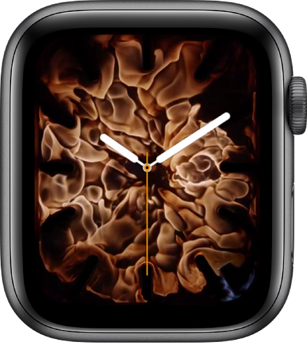 """Carátula """"Fuego y agua"""" mostrando un reloj análogo en el centro y fuego a su alrededor."""