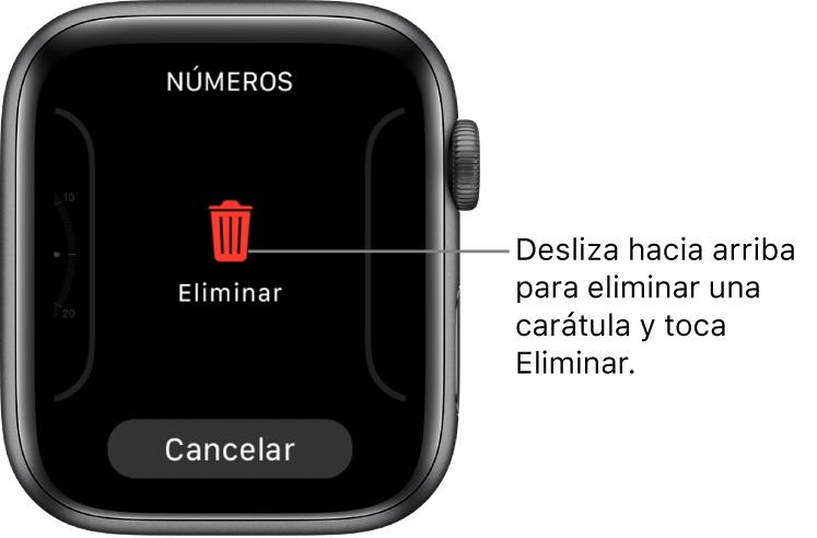 La pantalla del AppleWatch mostrando los botones Eliminar y Cancelar, que aparecen una vez que te has desplazado a una carátula y que la has deslizado hacia arriba para eliminarla.