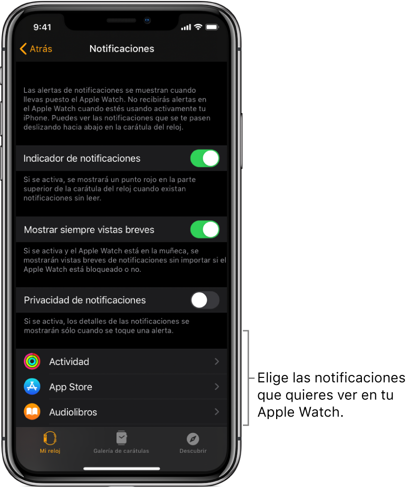 La pantalla Notificaciones en la app AppleWatch en el iPhone mostrando fuentes de notificaciones.