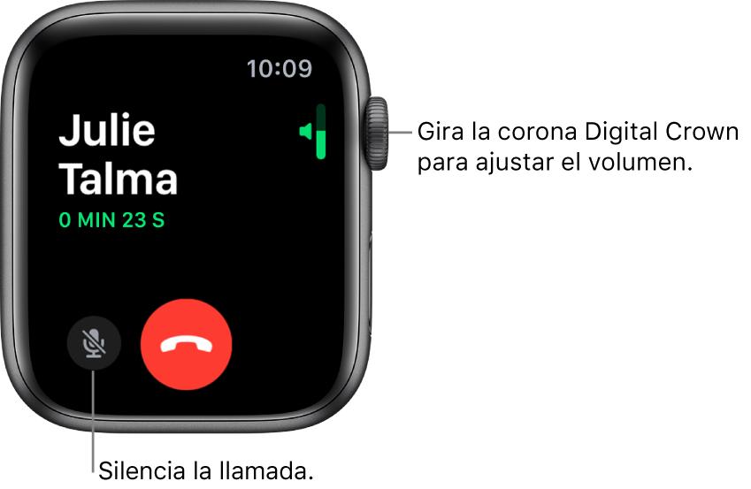 Durante una llamada entrante, la pantalla muestra el indicador de volumen horizontal en la parte superior derecha, el botón Silencio en la parte inferior izquierda y el botón rojo Rechazar. La duración de la llamada se muestra debajo del nombre de la persona que llama.
