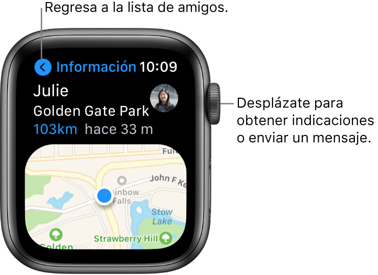 """Una pantalla mostrando los detalles acerca de la ubicación de un amigo, incluyendo qué tan lejos está y su ubicación en un mapa. Un texto que señala a la Digital Crown dice """"Desplázate para obtener indicaciones o enviar un mensaje""""."""