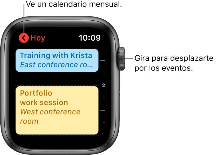 La pantalla de Calendario mostrando una lista de los eventos del día.
