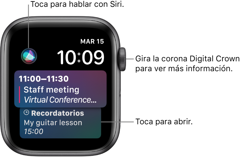 La carátula Siri mostrando un recordatorio y un evento de calendario. Un botón de Siri en el área superior izquierda de la pantalla. La fecha y el tiempo están en la esquina superior derecha.