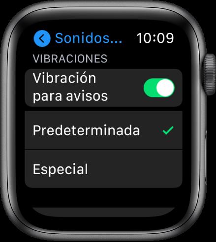 """Configuración de """"Sonidos y vibración"""" en el Apple Watch con el interruptor """"Vibración para avisos"""" y los botones Predeterminado y Especial debajo."""