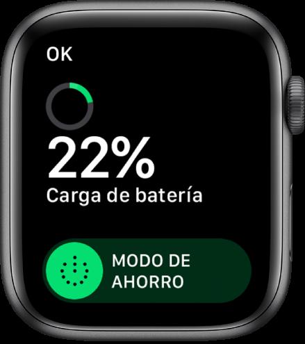 """La pantalla Ahorro de energía mostrando el botón OK en el área superior izquierda, el porcentaje de batería restante y el regulador """"Ahorro de energía""""."""