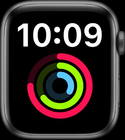 La carátula Extra G muestra la hora en formato digital en la parte superior. Debajo se muestra una complicación Actividad grande.