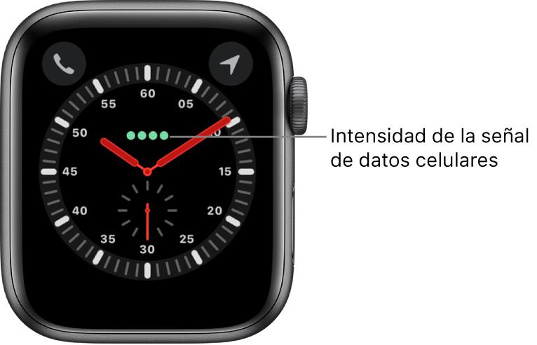 La carátula Exploración es un reloj análogo. En la parte superior central hay cuatro puntos verdes que indican la intensidad de la señal de datos.