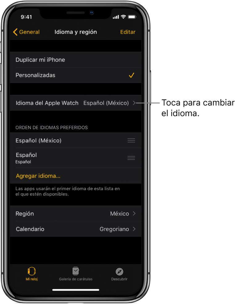 """La pantalla """"Idioma y región"""" en la app AppleWatch con la configuración Idioma del AppleWatch en la parte superior."""