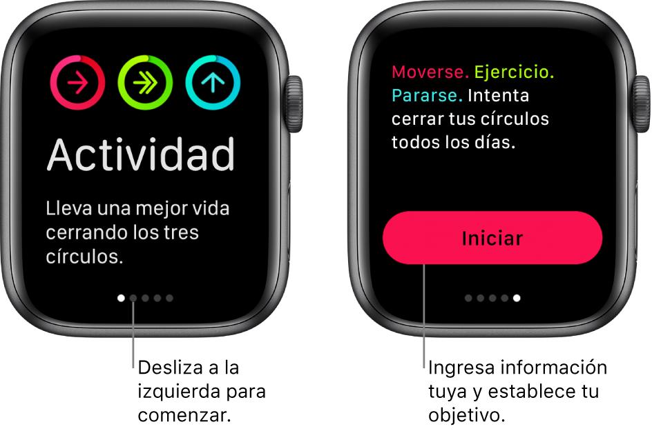 Dos pantallas: una muestra la pantalla de inicio de la app Actividad y la otra muestra el botón Iniciar.