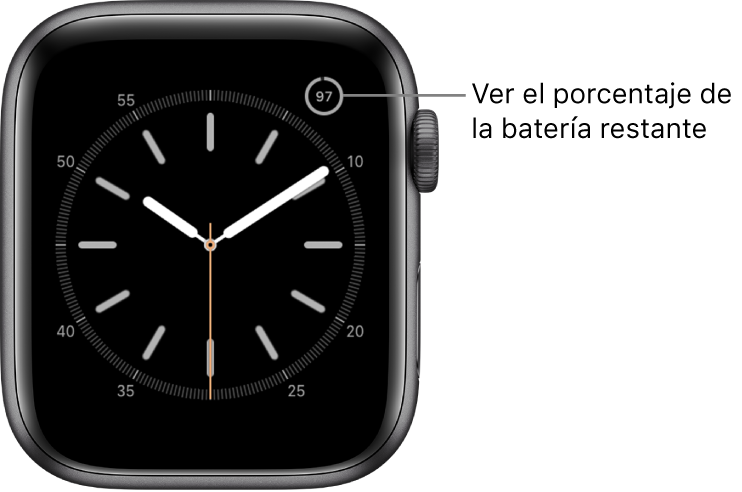 Esfera del reloj con la complicación del porcentaje de batería en la esquina superior derecha.