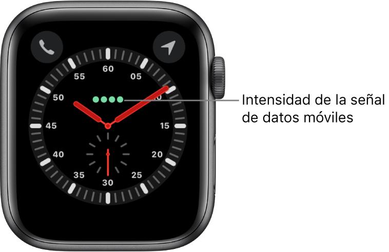 La esfera Exploración es un reloj analógico. Justo encima del centro de la esfera, se muestran los cuatro puntos verdes que indican la intensidad de la señal de datos móviles.
