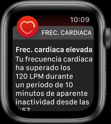 Un aviso de frecuencia cardiaca que indica una frecuencia cardiaca alta.