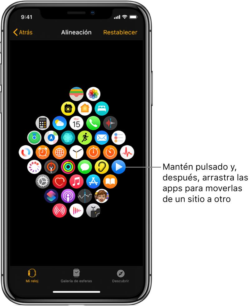 Pantalla Disposición de la app AppleWatch con una cuadrícula de iconos.