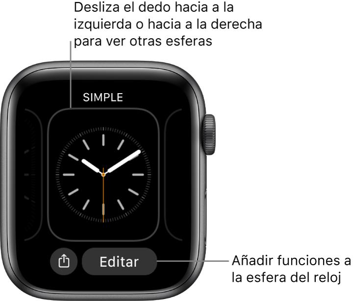 Cuando mantienes pulsada la esfera del reloj, ves la esfera actual con el botón Compartir y Editar en la parte inferior. Desliza el dedo hacia la izquierda o hacia la derecha para ver otras esferas. Pulsa una complicación para añadir las funciones que quieras.