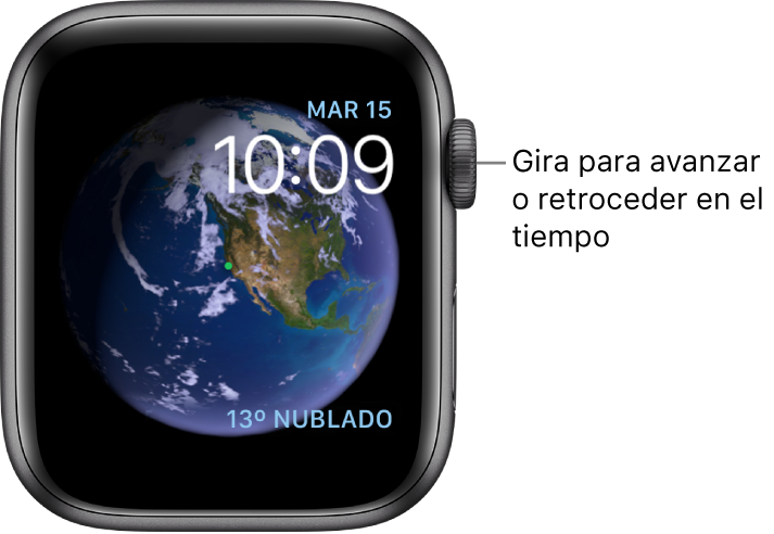 En la esfera Astronomía, se muestran el día de la semana, la fecha y la hora actual. Abajo a la derecha se muestra la complicación Tiempo. Gira la corona DigitalCrown para avanzar y retroceder en el tiempo.