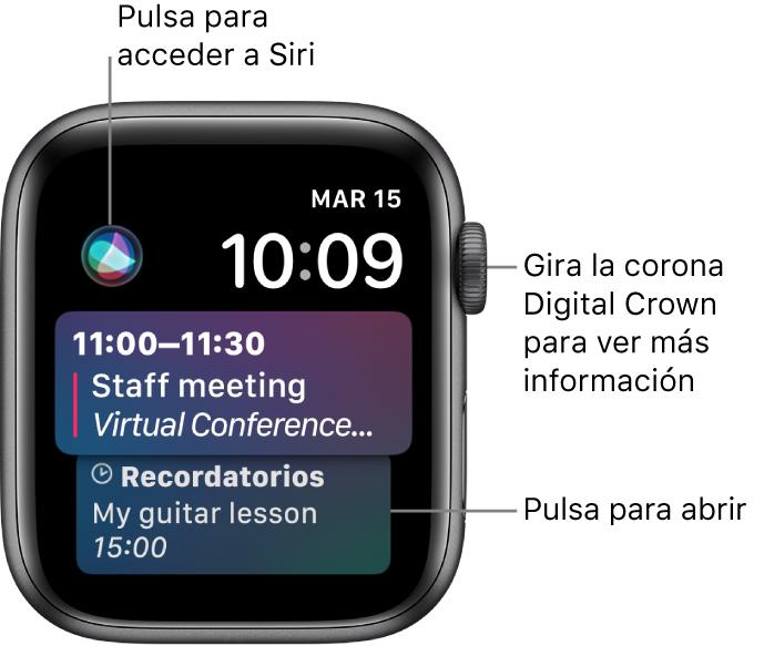 Esfera Siri, con un recordatorio y un evento del calendario. Hay un botón Siri en la esquina superior izquierda de la pantalla. En la parte superior derecha están la fecha y la hora.