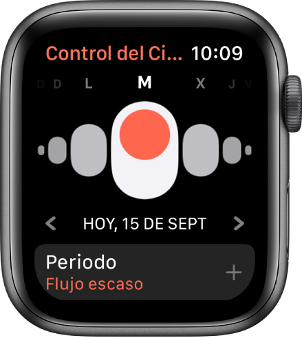 La pantalla de Control del Ciclo, con los días de la semana arriba, la fecha actual debajo y el botón Periodo al final.